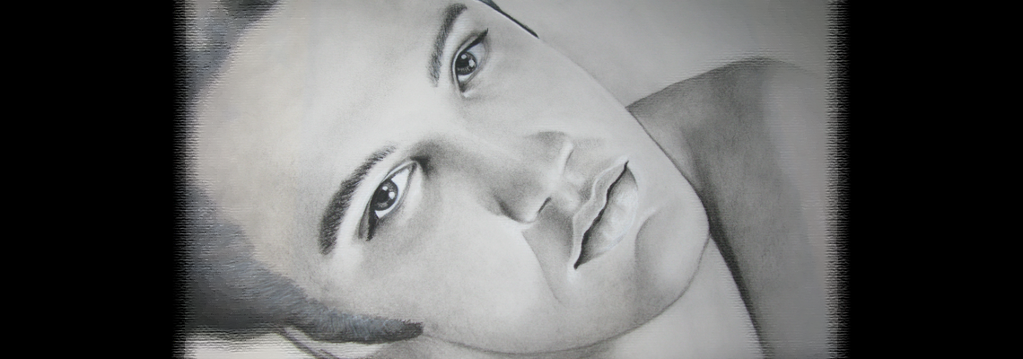 Young Elvis in charcoal and graphite